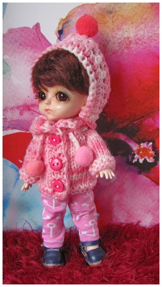 FREE SHIPPING hand-knit sweater with bjd cap / 1/8 dolls Lati