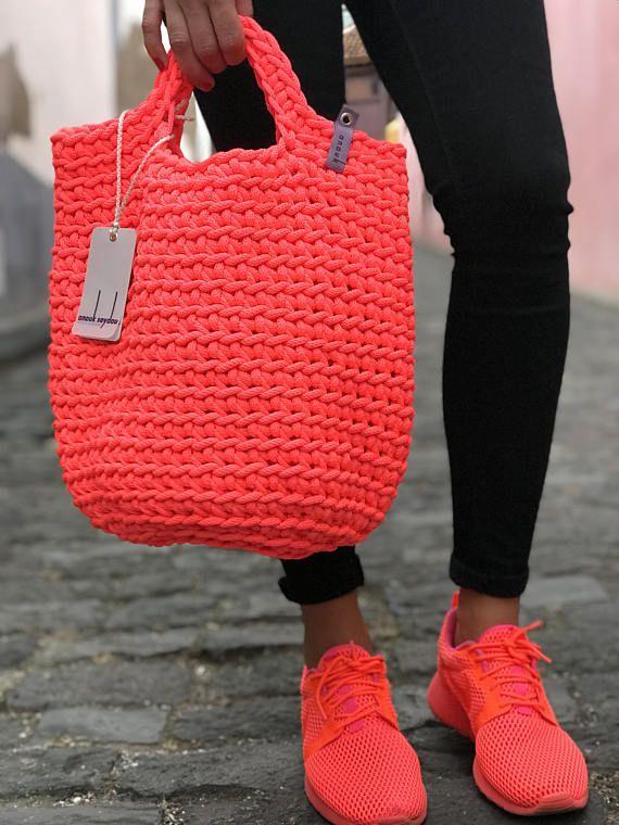 Tote Bag Scandinavian Style Crochet Tote Bag Handmade Bag Knitted Handbag Gift for Her NEON PINK color