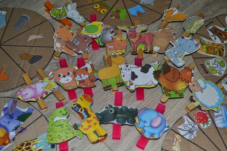 """Веселые будни: Игра """"Животный мир"""" с прищепками"""