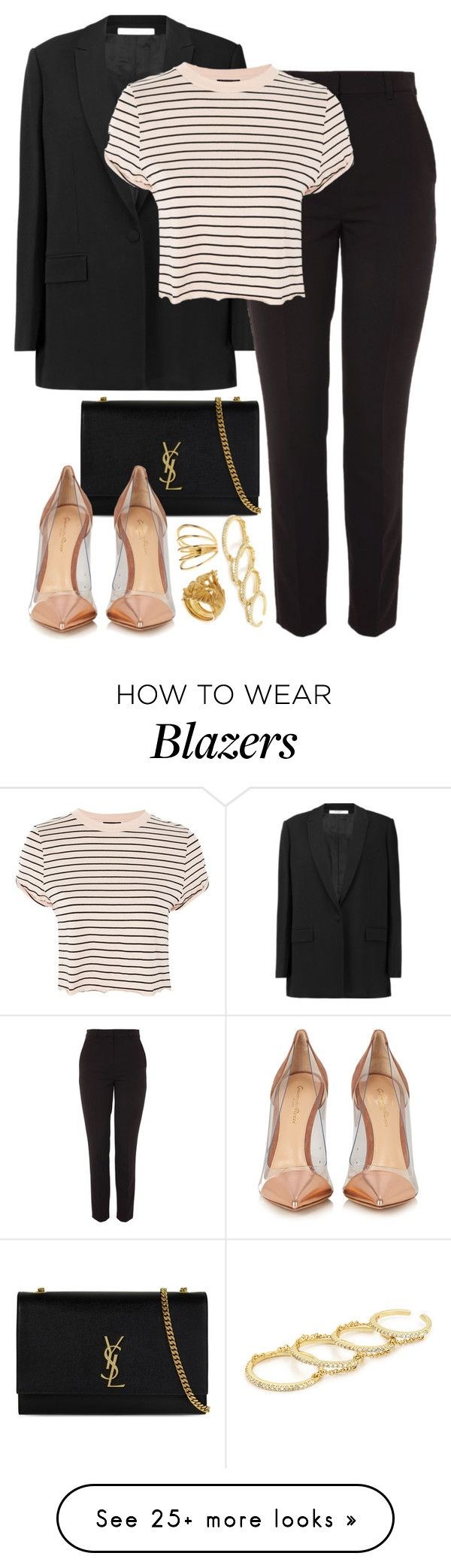 """Givenchy x Yves Saint Laurent"" by muddychip-797 on Polyvore featuring Givenchy, Topshop, Yves Saint Laurent, Gianvito Rossi, Vanzi, Gorjana, Fallon, party, business and saintlaurent"