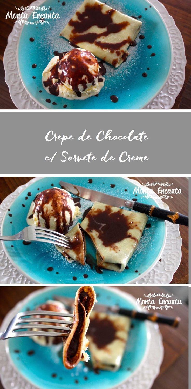 Crepe de chocolate com sorvete, fecha bem sempre, com caldinha de chocolate caseira, para ser servida junto com uma bola de sorvete de creme.