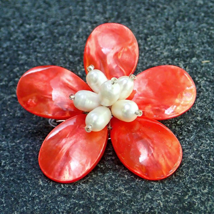 Brooch from dyed red mother of pearl, fresh water white pearls. Statement, gemstone, handmade, classic, flower, red colour, for her, pin by Menir on Etsy