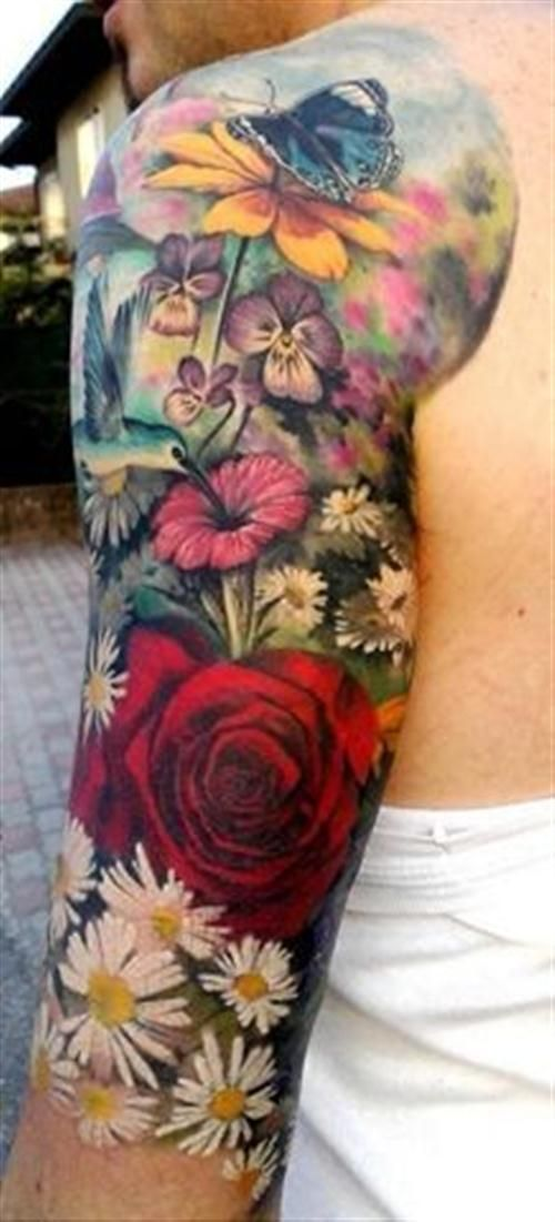 Different flowers. Peony. Black eyed Susan's. Watercolor. Humming bird. Right arm all color like this. ❤️