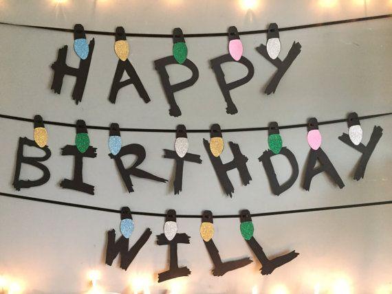 Custom Birthday Banner Stranger Things / Happy by MaterialGods