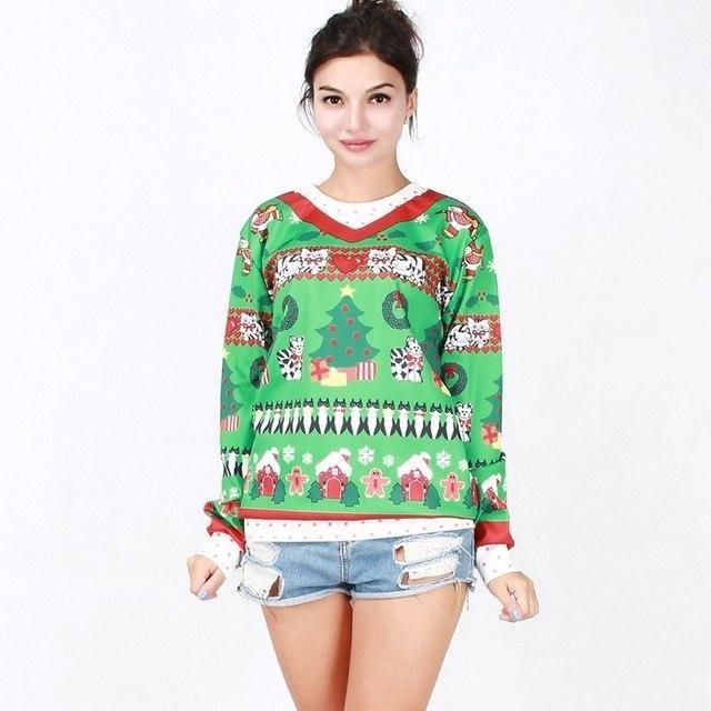 Christmas Theme Print Sweatshirt Women Harajuku Kawaii Sudaderas Mujer Leisure L…