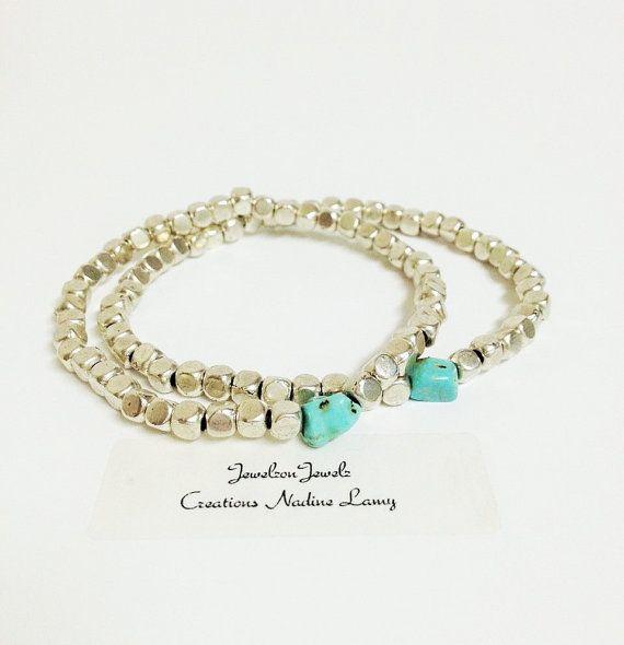 Silver Beads Bracelet//Turquoise by JewelzonJewelz on Etsy