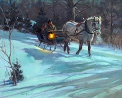 Midnight Ride: Western art oil painting of carriage winter sleigh ride by 2009 Prix de West Award winning artist and painter Tom Browning