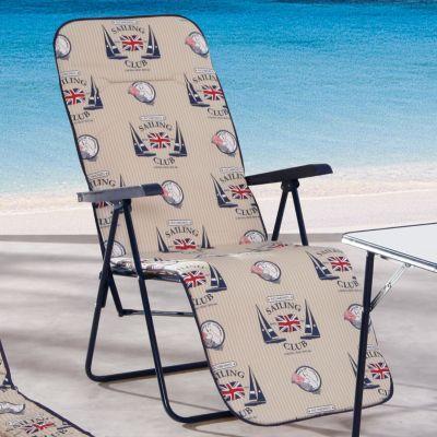 unisex garten liegestuhl binz segeln mit polster klappbar blau beige ob beim camping. Black Bedroom Furniture Sets. Home Design Ideas