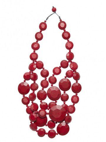 Elk Accessories Hexagon Multi Strand Necklace - red