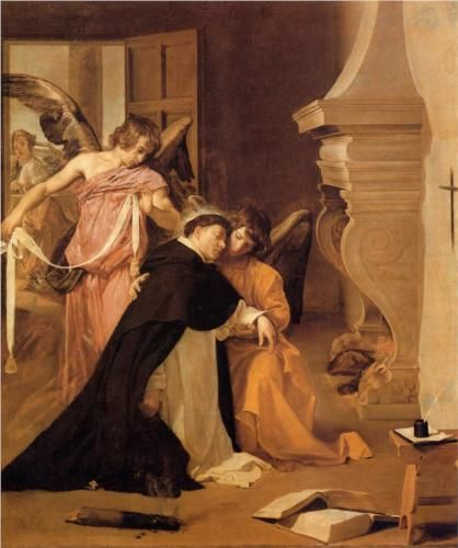 The Temptation of St. Thomas Aquinas: 1631-1632 by Diego Velazquez (Museo Diocesano de Arte Sacro) - Baroque