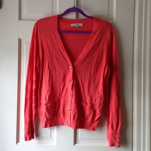 Cute coral cardigan LOFT coral cardigan. Only worn once, very comfy! Ask for more photos. LOFT Sweaters Cardigans