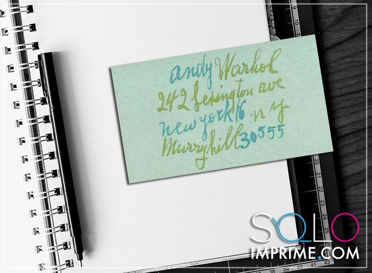 Tarjeta de Presentación, Originales, famosos, Business Card, Andy Warhol