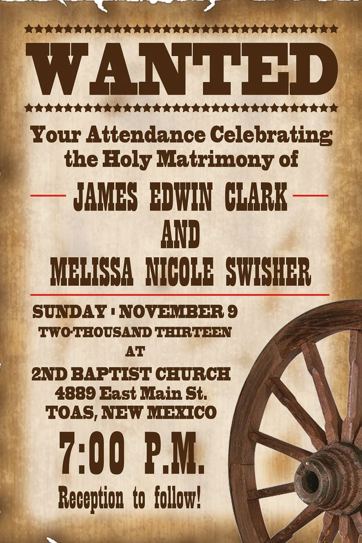 Printable Western Templates | Wedding Invitations Free Printable Templates free for your party. Get ...