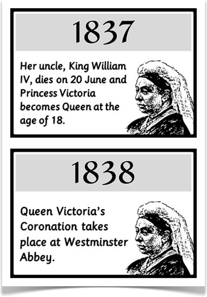 Queen Victoria Timeline - Treetop Displays - A set of 20 A5 fact cards that reveal a timeline of the life of Queen Victoria. Colour coordinated in black and white, this set is very informative and explains all the major events that took place in Queen Victoria's life! Visit our website for more information and for other printable resources by clicking on the provided links. Designed by teachers for Early Years (EYFS), Key Stage 1 (KS1) and Key Stage 2 (KS2).