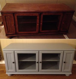Painted TV Stand Before/After Craigslist find turned awesome