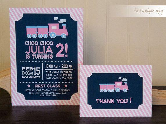 Girl Train Birthday Invitation and Thank you card, Printables // TRA -08