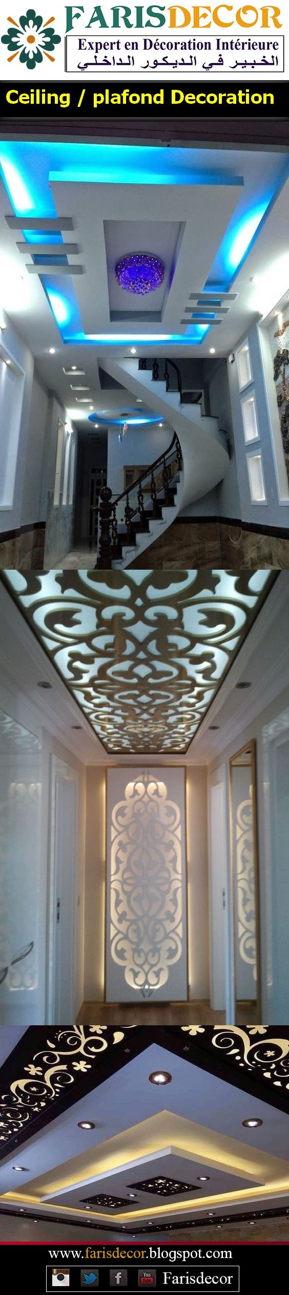 Ceiling / plafond Decoration #Décoration #Architecture #House  #Luxe #Moderne #Floors #Ceiling #Wall #Afrique #Europe #Casablanca #Maroc #Morocco