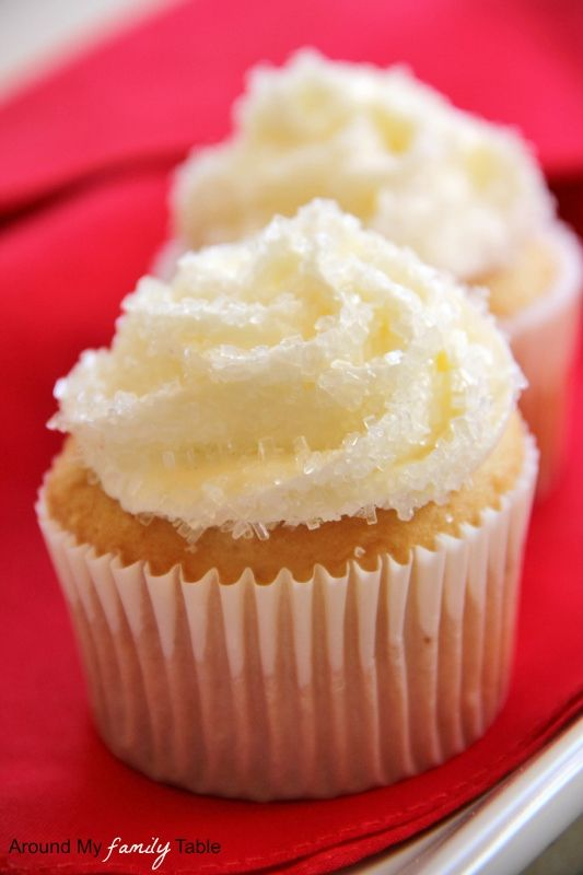 "This is a recipe for an ""Amazing White Cake"" -and it has an even MORE-AMAZING sounding Vanilla-Almond-Buttercream Frosting!! Oh baby!- I Can't WAIT to try THESE!!  **From Around My Family Table"