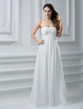 Abbigliamento da sposa avorio chiffon collo a cuore vita alta stile impero a terra