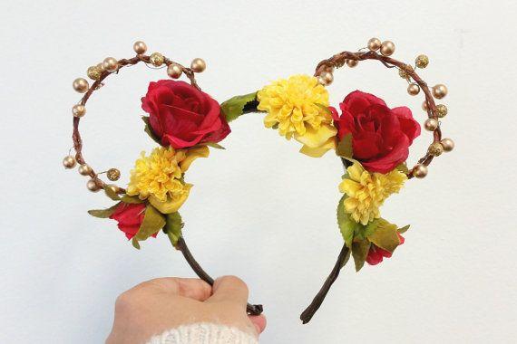 Tale As Old As Time | Belle Mickey Ears | Disney | Beauty and the Beast | Handmade Mickey Ears | Flower Crown Mickey Ears