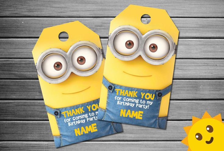 Minion Thank You Tags, Minion Birthday Favor Tags, Minion Party Tags, Minion Favor Tag, Minion Thank You Printables, Minion Labels, Minion  This product listing is for a personalized birthday invitation in DIGITAL PRINTABLE FILE only. NO PHYSICAL ITEM will be shipped to you.  Your personalized thank you tags will come in the form of a high resolution JPG file(s) that will be emailed to you within 24HOURS after order placement. The thank you tags size is 1.75x3 inches. There will be 12…