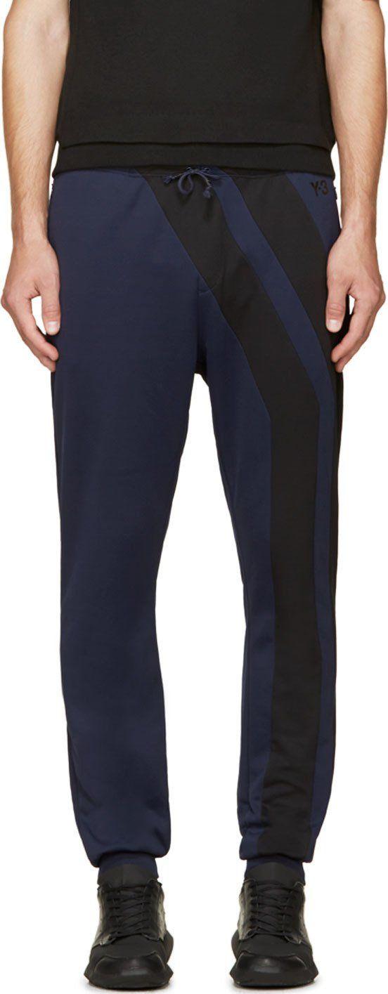 Y-3: Navy Vertical Stripe Track Pants | SSENSE