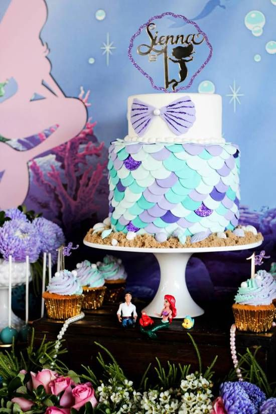 Under the Sea First Birthday Party cake, ariel topers