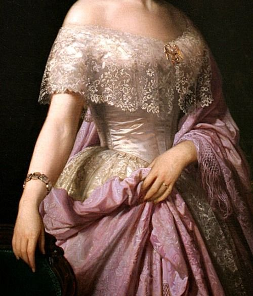 Portrait of Elizabeth Wethered Barringer (detail) by Federico de Madrazo y Kuntz, 1852