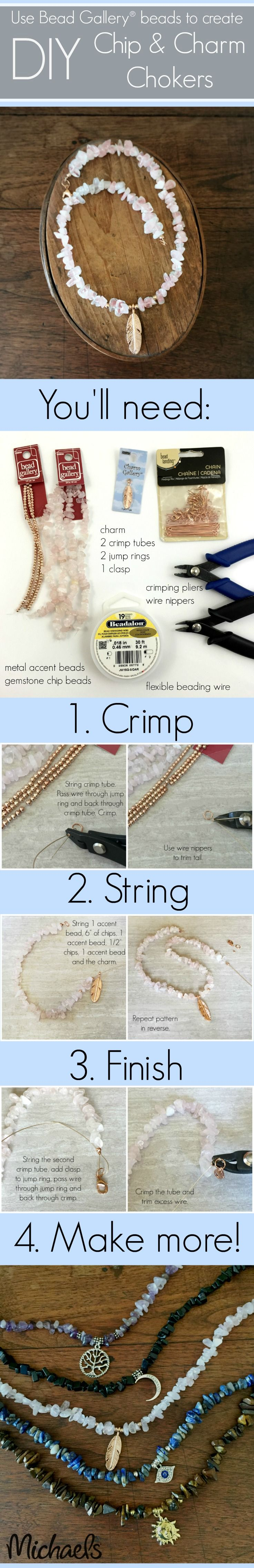 Use your favorite color chip beads to make this easy DIY stylish Chip and Charm Choker necklace