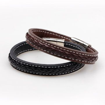 Punk Leather Woven Buckle Men Bracelet Wristband Gift at Banggood
