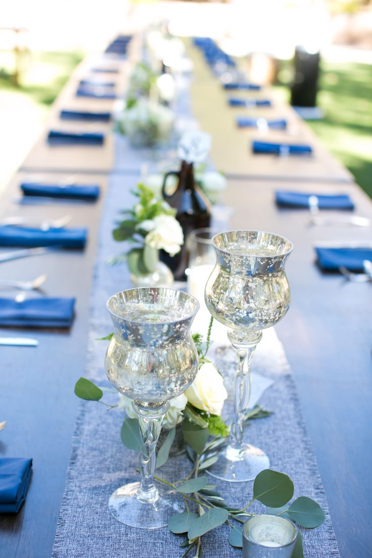 Wedding tables with mercury glass, white floral and fresh greenery. Designed by Nina with By Request. www.byrequest.us