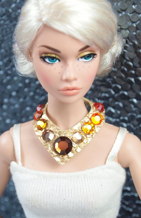 Barbie Superstar Gold Necklace with Swarovski Crystals