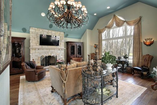 love the color scheme for a rustic living room aqua