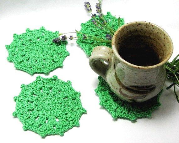 Green Crochet Coaster Glass Coaster Crochet Doily by TheYarnShack