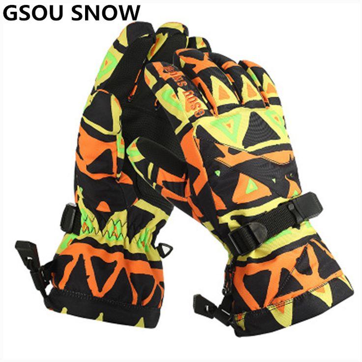 Gsou Schnee-30 Grad Warme Skihandschuhe Männer Touchscreen Wasserdicht Snowboard Handschuhe Outdoor skifahren und snowboarden Schnee Handschuhe