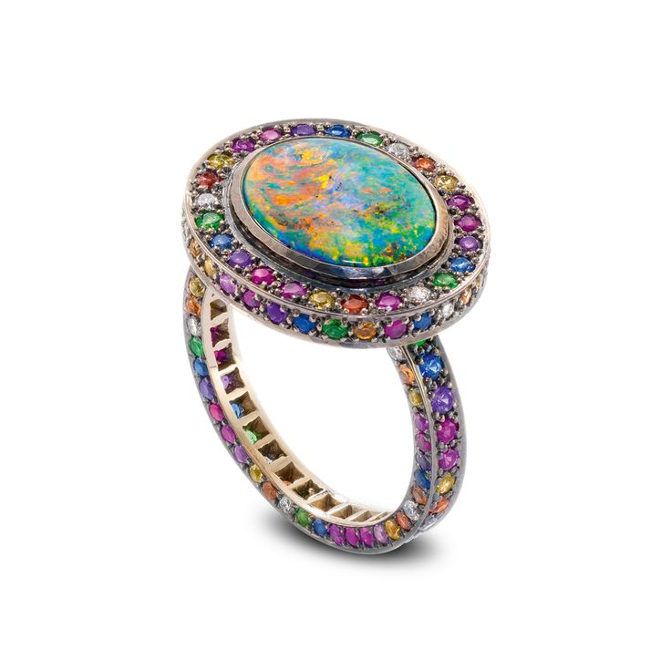 Chromantic ring Black opal and multi-coloured gemstone ring set in blackened 18ct white gold by Solange