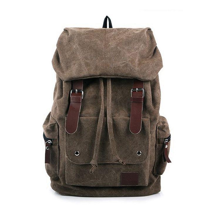Vintage-Zaini-Uomo-Donne-Tela-Canvas-Borsa-Zainetto-Scuola-Viaggio-Backpack-Bag