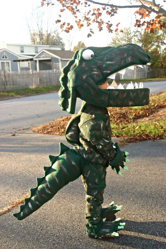 Impress in this homemade dinosaur costume this Halloween.