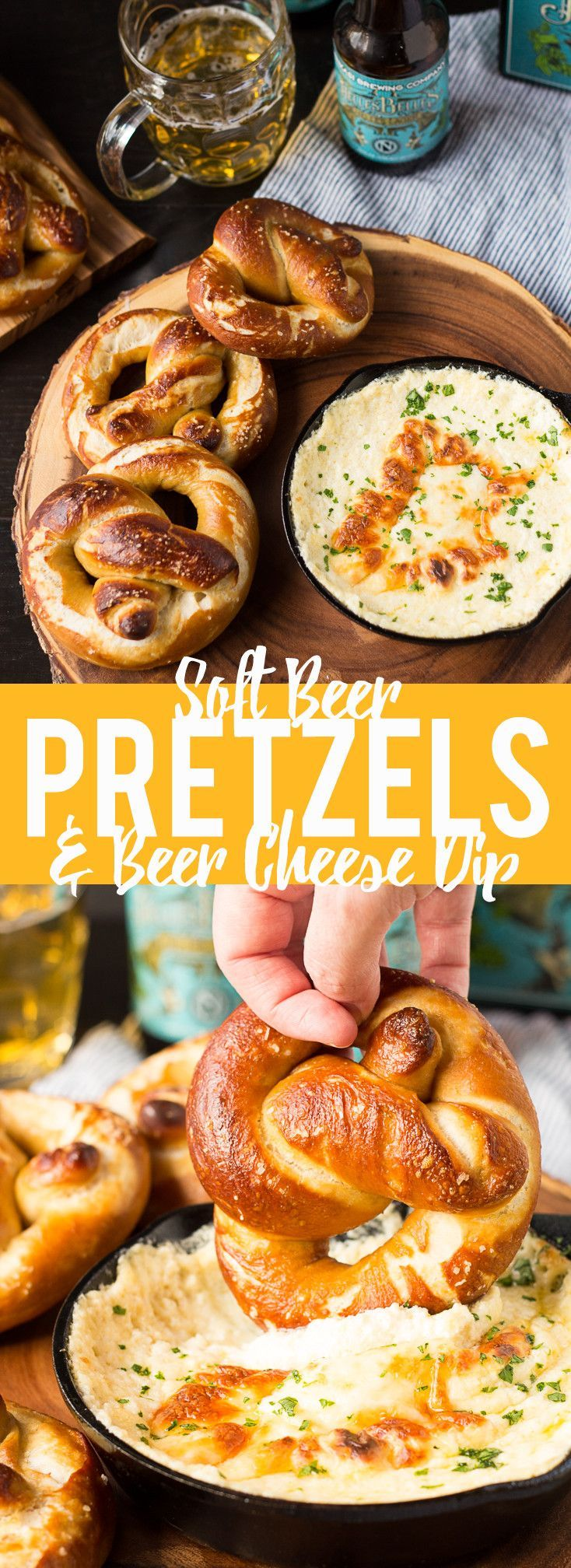 These Soft Beer Pretzels with Beer Cheese Dip are soft and fluffy pretzels with a cheesy dip. Perfect for game day, parties or any time you need a snack.