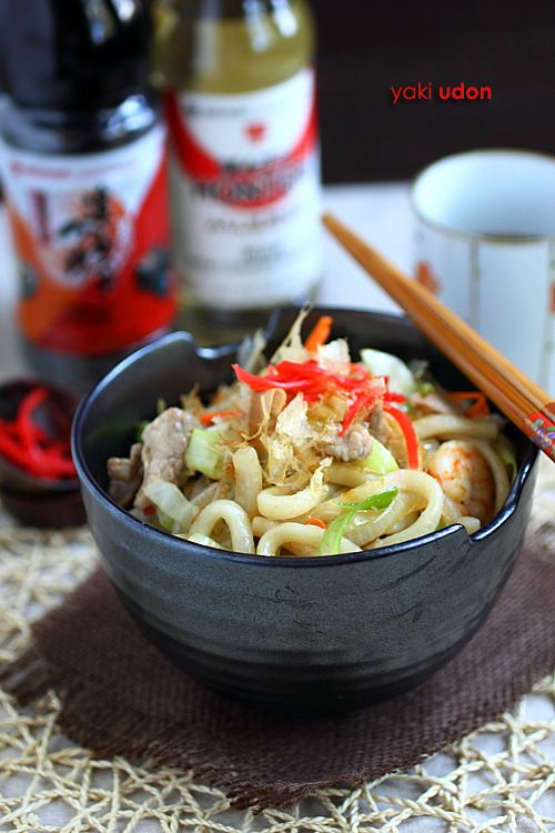 Udon Noodles (Yaki Udon) recipe - cabbage, carrot, onion, pork, shrimp Mizkan (Bonito Flavored) Soup Base. #noodles #takeout #seafood #pork #noodles #japanese