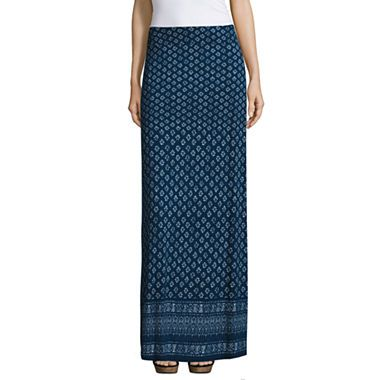 Liz Claiborne Maxi Skirt - Navy Blue Multi