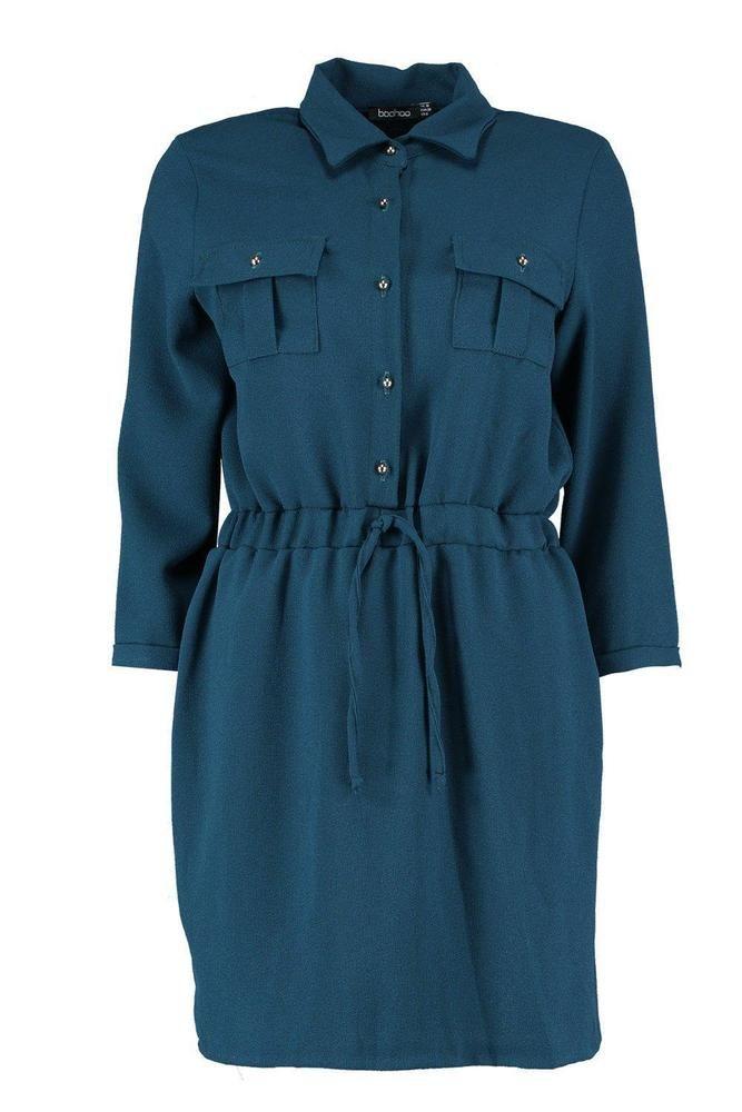 Boohoo Blue Daisy Tie Waist Shirt Skater Dress Size UK 14 LF182 DD 17   fashion 7860275a7