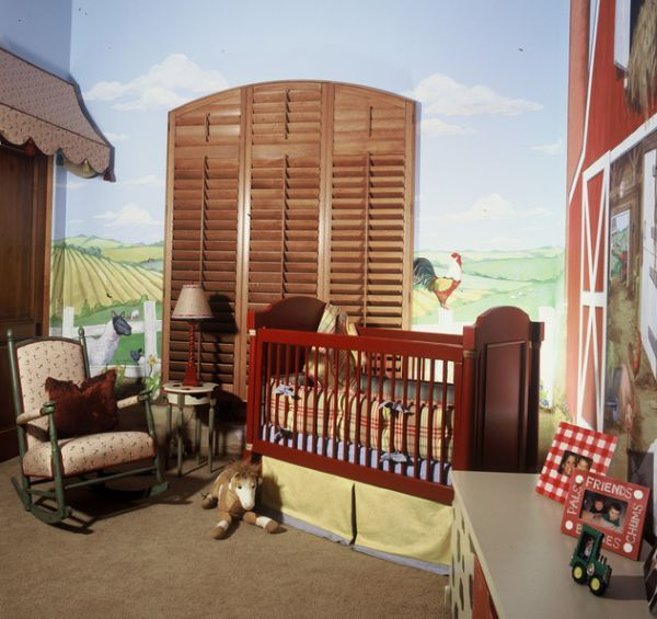 I LOVE this baby nursery...big red barn is one of my favorite children's books!