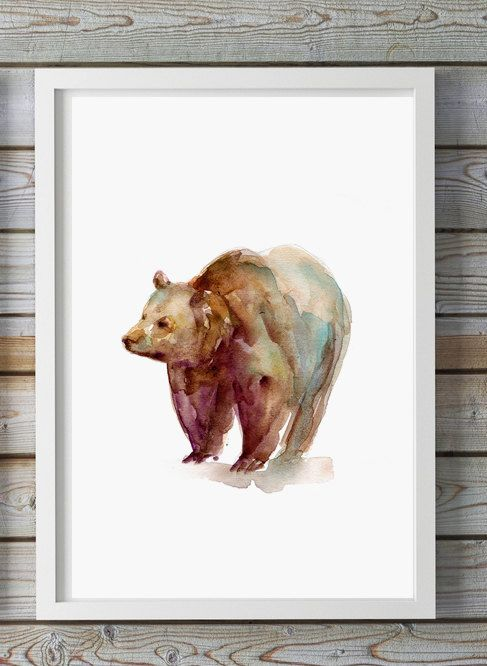 ➽ Art print of my bear watercolor SIZE OF PAPER: Please choose when you order ➽ ABOUT THE FINE ART PRINTS (A4 and smaller sizes) HIGH RESOLUTION PRINT This is a high quality, high resolution giclee reproduction of my original watercolor painting. This way of printing ensures that the final print has the sharpest detail and has no visible dot screen pattern. The final print has all the tonalities and hues of my original watercolor painting and has a museum quality appearance. HIGHEST QUAL...