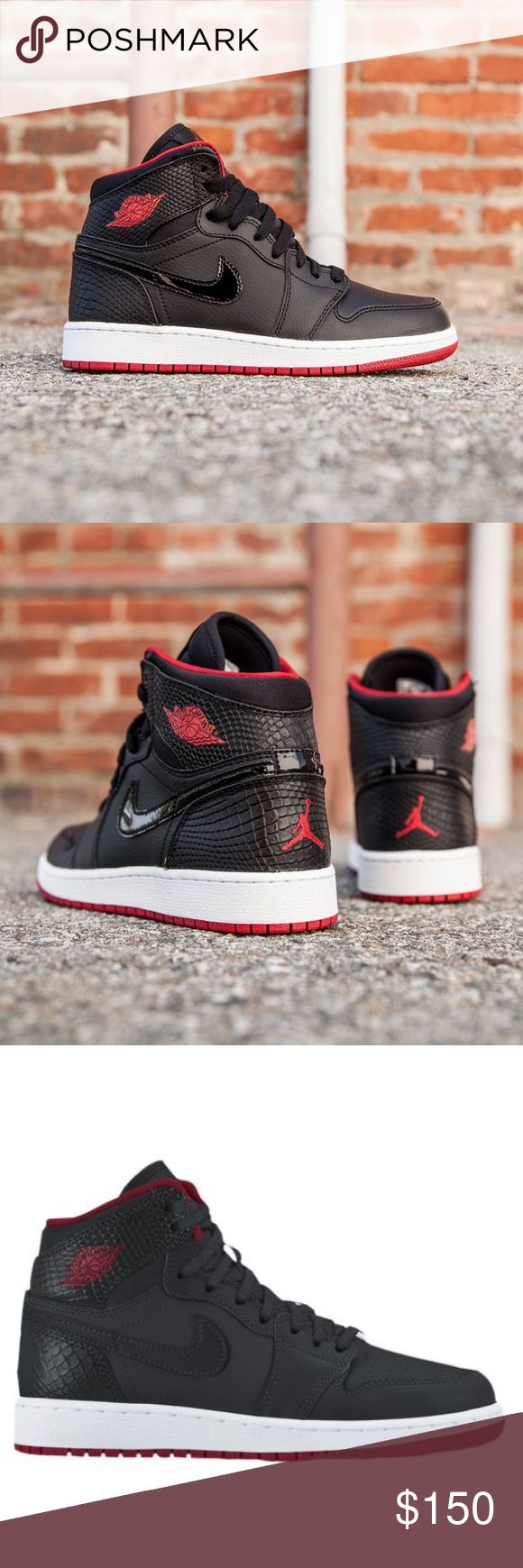 ❤️AIR JORDAN RETRO 1 NIKE HIGH BLACK RED SHOES Brand new with box but no top lid on the box. 100 % authentic. Size 6 youth BG (please look at sizing chart) fits women's 7.5 Nike Shoes Sneakers