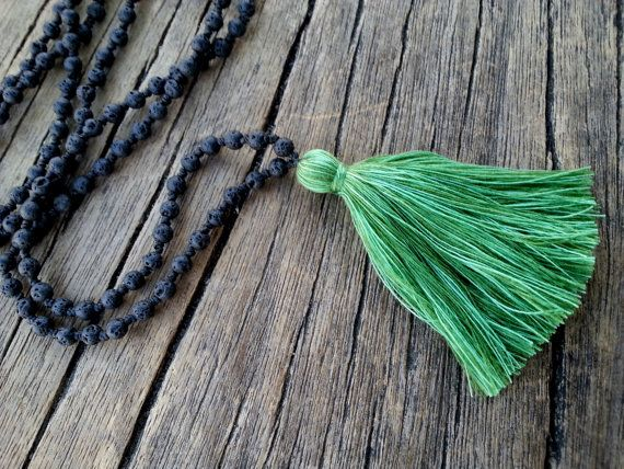 Black Lava Necklace Lava and Pistachio Green by PiscesAndFishes