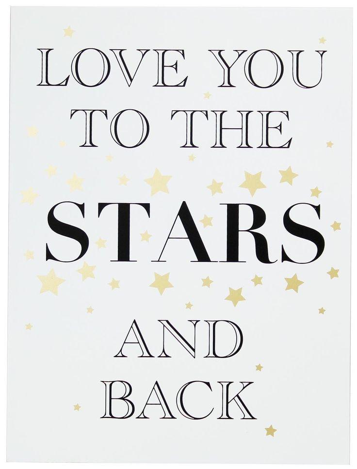 Gold hölzerne Liebes-Zeichen-Wand-hängende Plakette 30cm x 40cm ~ Love You To The Stars