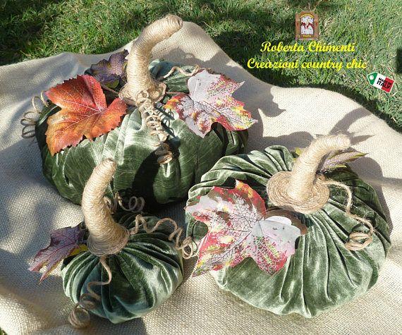 Set of three green velvet pumpkins jute twine pumpkin stems