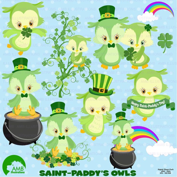 80%OFF St Patricks Day Owl clipart Owl clip art St Patrick's Day Owls vector graphics digital clipart instant download AMB-1185