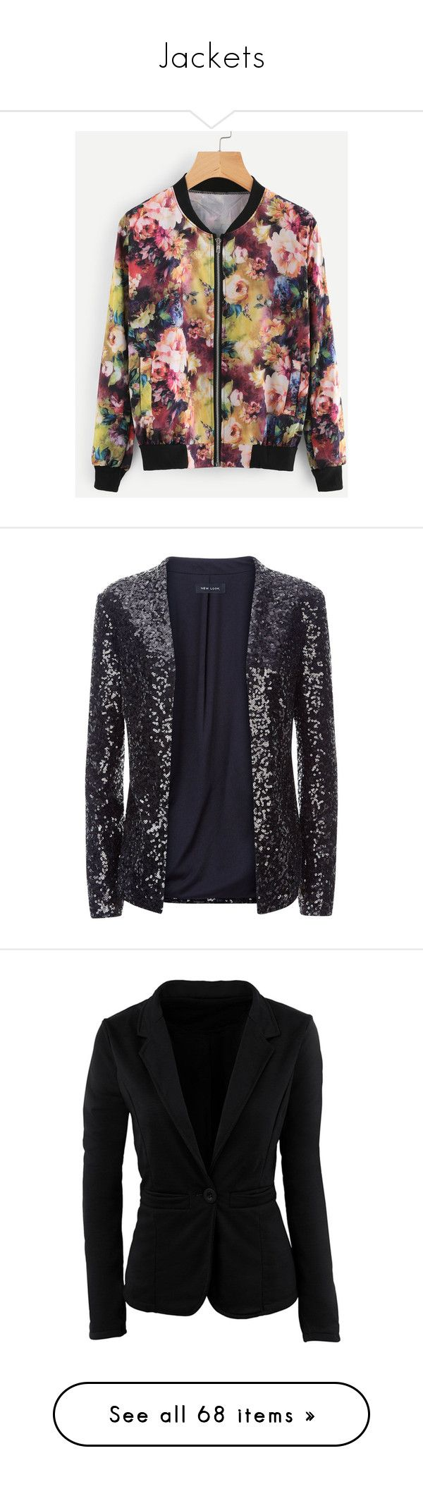 """""""Jackets"""" by sbello ❤ liked on Polyvore featuring outerwear, jackets, floral jacket, floral-print bomber jackets, flower print jacket, blazers, sequin jacket, sequin blazer jacket, sequin blazer and sequined blazer"""